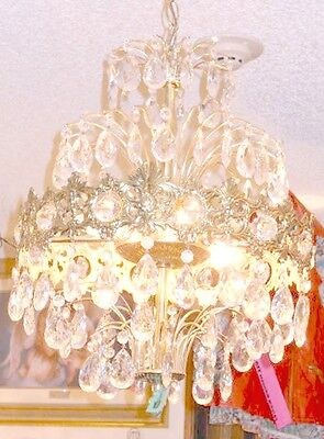 Antique Brass Crystal Type (Antique European Coronal Brass and Crystal 6 Bulb Chandelier w/ 2 Types Prisms )