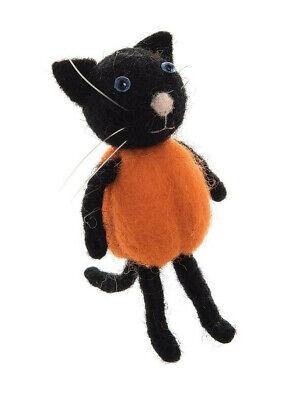 Gallerie Ii Halloween (GALLERIE II HANDMADE WOOL PUMPKIN CAT COSTUMED BLACK CAT HALLOWEEN)
