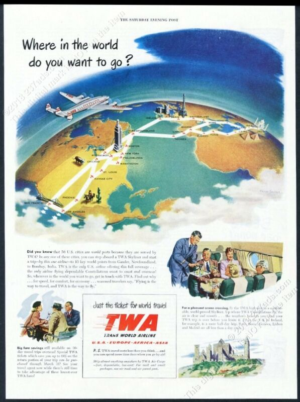 1949 TWA airlines plane over world map color art vintage print ad