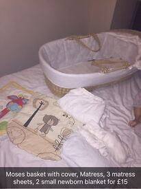 Moses basket, matress, covers and newborn baby blanket