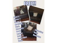 FREE 3 SEATER 2 SEATER & MATCHING CHAIR CHOCOLATE BROWN LEATHER SOFAS