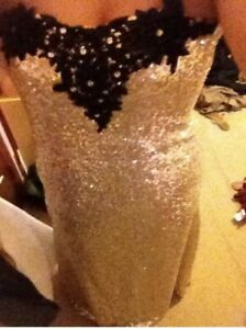 Size 12-14 gold/black sequin prom dress