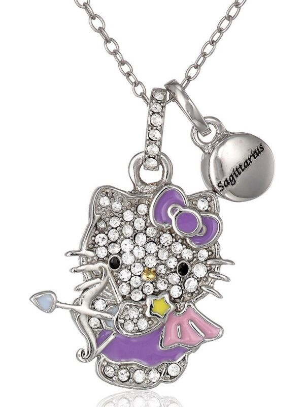 HELLO KITTY ZODIAC SAGITARIUS Sterling 925 Pave Crystal Enamel Pendant Necklace