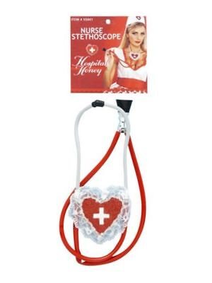 Hospital Honey Nurse Stethoscope Sexy Novelty Red White Heart Costume Accessory