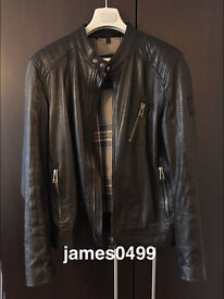 Men's BELSTAFF Kirkham black leather biker jacket. Size L/XL (52). 2 years old. Includes receipt!