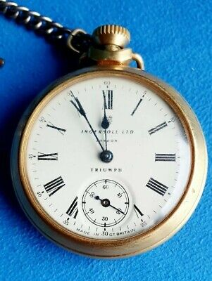 Vintage Ingersoll Ltd London Triumph Sub Seconds Gold Plated Pocket Watch Works