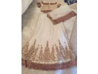Red, Green & White Jewelled Asian Bridal Lehenga - BRAND NEW