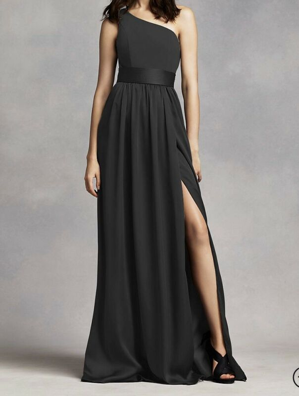 VERA WANG One Shoulder Formal/Prom Dress Black Size 2 EBONY Current 2019/20