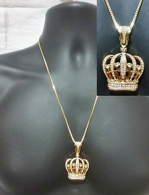 Gold Box Chain Necklace Pendant King Queen Crown Royalty Hip Hop Iced Out