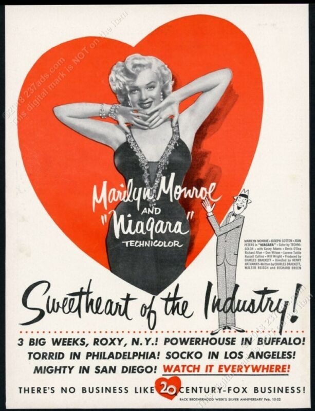 1953 Marilyn Monroe great photo Niagara movie release scarce trade print ad