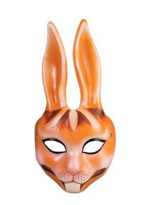 Orange Rabbit Plastic Half Mask Bunny Animal Easter Costume Accessory Unisex New - Rabbit Half Mask