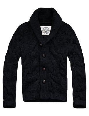 $158 Mens CALI HOLI Cable Knit Shawl Collar Cardigan Sweater -