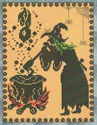 LOOK WHO'S COMING TO SUPPER--Halloween--Witch--Counted Cross Stitch - Halloween Suppers