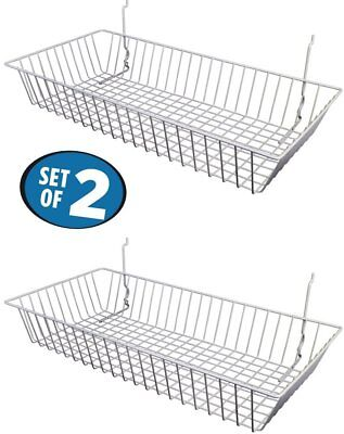 White Wire Baskets For Slatwall Gridwall Or Pegboard Set Of 2 24lx12dx4h