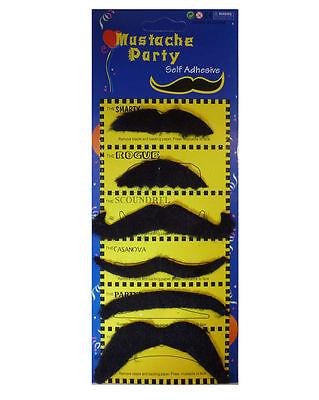 Men Gangster Black Stick on Fake Moustache Mustache Fancy Party Pack of 6 (Fake 6 Pack Kostüm)