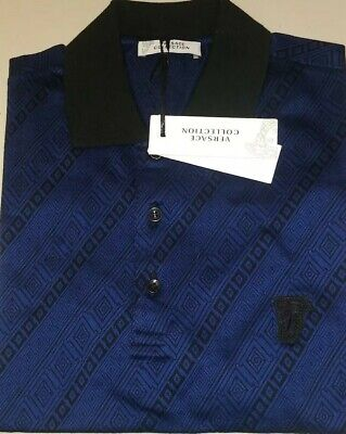 Mens Versace Collection Contrast Geo Pattern Polo Shirt Black/Blue L