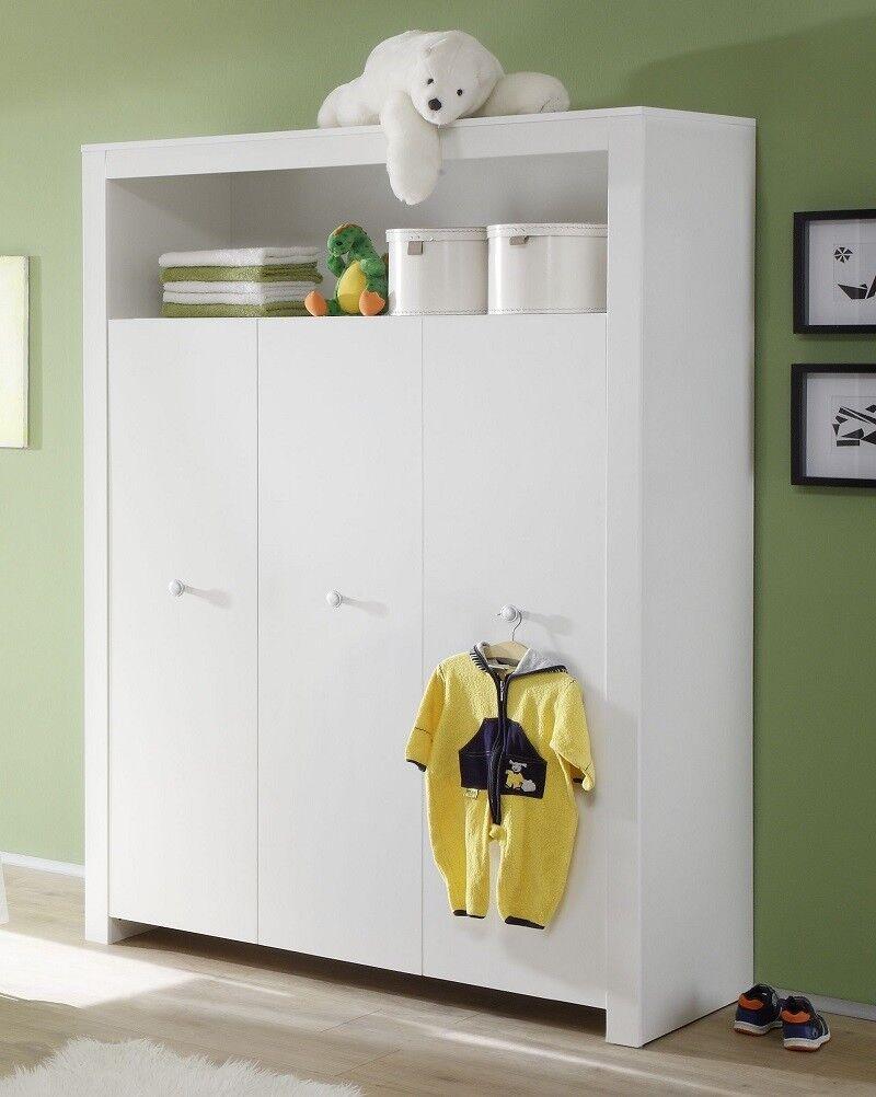 Kleiderschrank Babyzimmer Olivia | weiß 3-türig | Kinderzimmer Schrank | Olivia