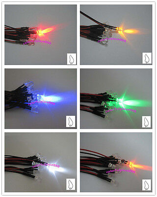 5mm 5v Candle Led Flicker Pre-wired Red Yellow Blue Green White Orange Leds 20cm