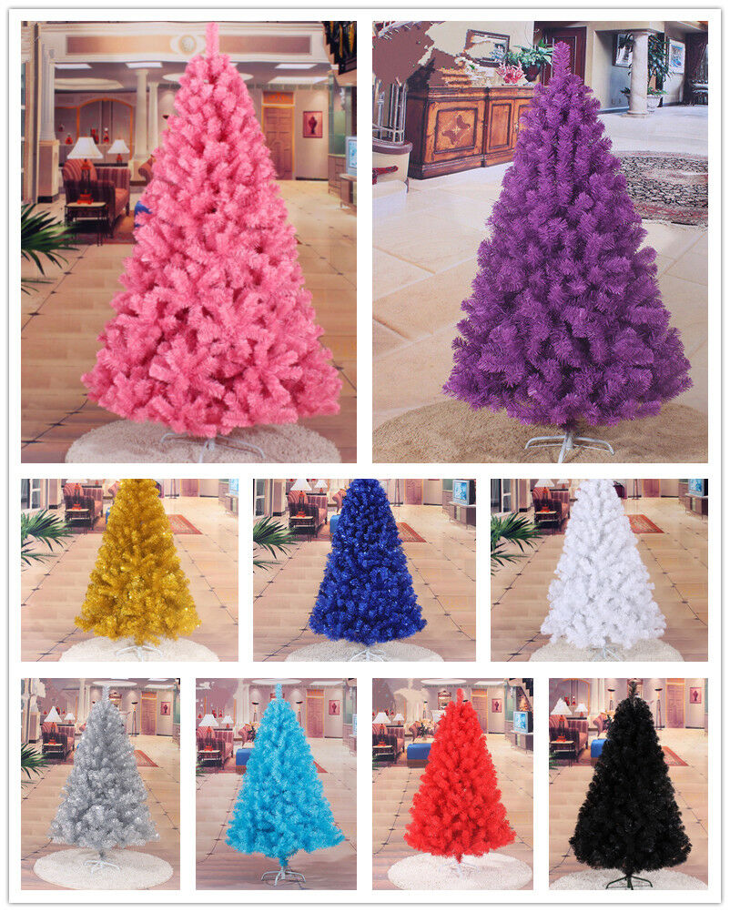 4ft 5ft 6ft 7ft Christmas Tree Undecorated Pink Purple Blue Gold Silver Black Ebay
