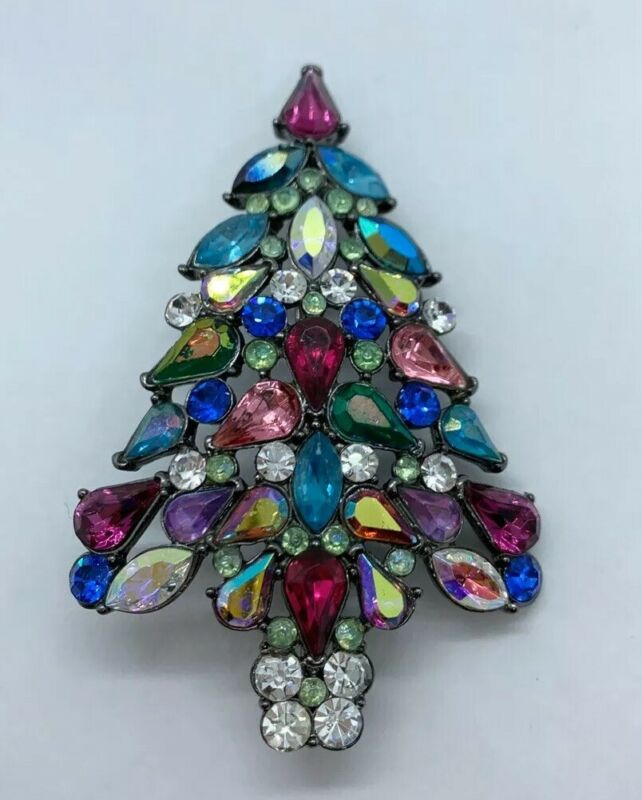 2006 Signed Avon 3rd Annual Christmas Tree Color Rhinestone Pin Brooch 3""