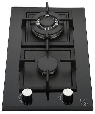 "K&H 2 Burner 12"" NATURAL Gas Glass Cooktop 2-GCW"