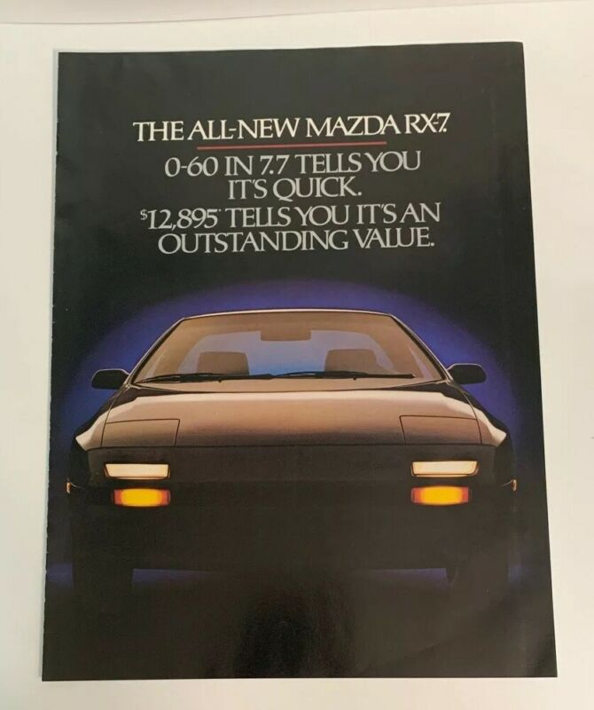1986 Mazda RX-7 New Generation Print Ad Classic Vintage Advertisement Fold Out