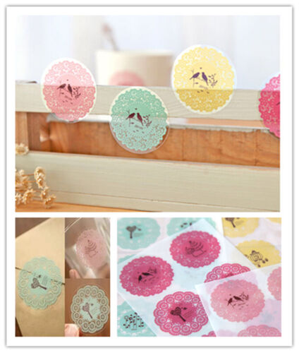 4 sheets round lace decoration diary phone transparent envelope sealing sticker