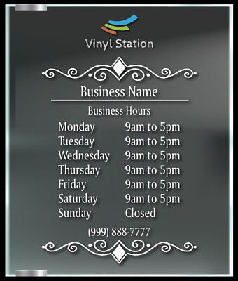 Elegant Custom Business Store Hours Window Decal Sticker Sign Door