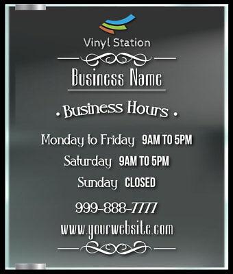 Elegant Custom Business Store Hours Window Decal Sticker Sign Door