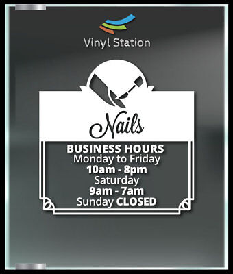 Nails Beauty Saloon Spa Business Hours Decal Window Sticker Sign Door