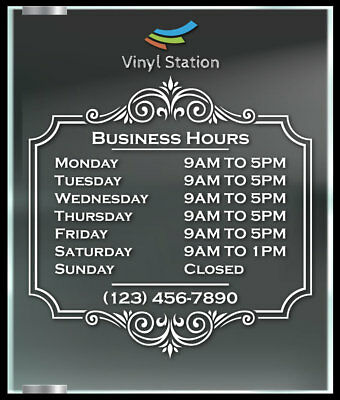 Elegant Decorative Custom Business Hours Decal Window Sticker Sign Door