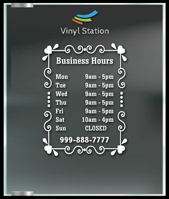 Custom Funny Business Store Hours Vinyl Window Decal Outdoor Sticker Sign Door