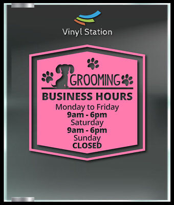 Pet Shop Window (Grooming Pet Shop Business Hours Decal Window Sticker Sign)
