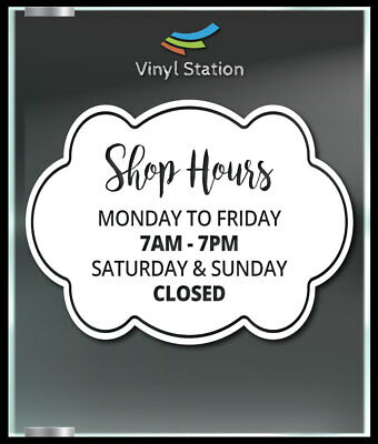 Custom Modern Business Store Hours Vinyl Window Decal Outdoor Sticker Sign Door