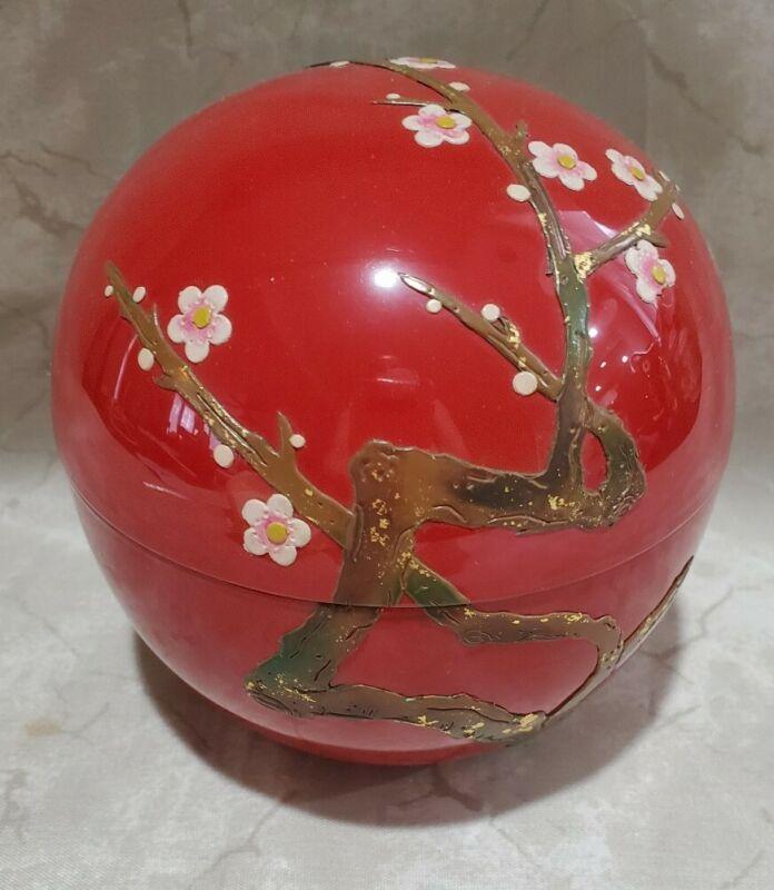 Ryukyu Urushi Ware Co. Red pink Flower cherry blossom Tea Caddy laquerware