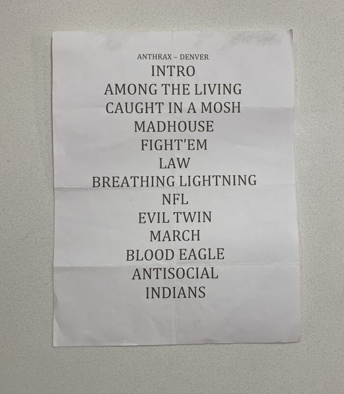ANTHRAX Show Official Tour Issues Stage Used Set list Denver