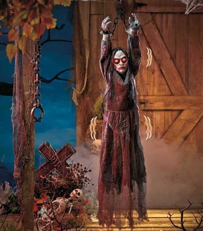 """LARGE 55"""" HALLOWEEN ANIMATED DEMONESS HANGING FROM SHACKLES, LIGHTS, SOUND"""