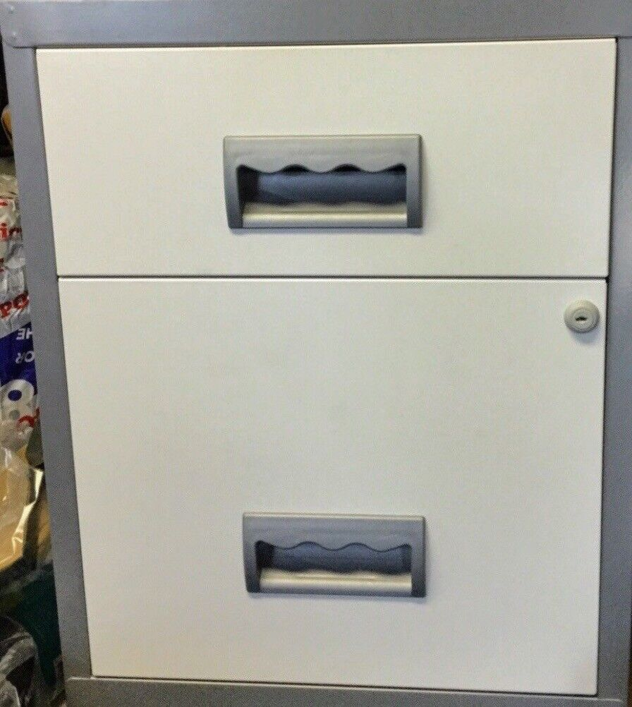 Home Office A4 Filing Cabinet 51cm X 40 With Wheels Grey White Lockable