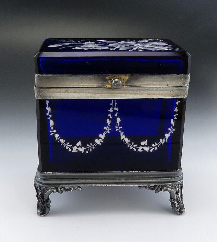American Victorian Cobalt Blue Glass Silverplate Impasto Dresser/Trinket Box