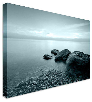 Duck Egg Blue Abstract Seascape Little & Large Canvas Wall Art Print ()