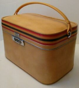 Vintage 50s Amelia Earhart Travel Make Up Luggage Train -YELLOW-Case Combination