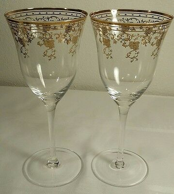 Gold Rose Large Glass Wine Glasses Set Of 2