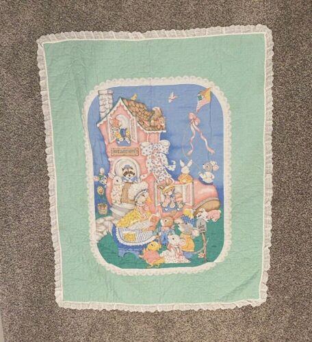 Vintage Mother Goose Crib Blanket Quilted Ruffle Nursery Rhyme 80s-90