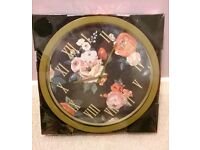Brand new: Large Floral Wall Clock (still in unopened box)