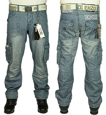 NEW MENS ENZO EZ111 COMBAT CARGO JEANS LIGHT BLUE FREE BELT SIZES 28 TO 48 ()