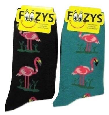 Foozys Flamingo Fun Novelty Crew Socks Ladies/Girls 2 Pairs-1Black + 1 Green -
