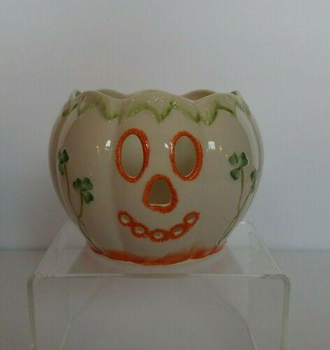 Belleek Pumpkin Fine Parian China Jack-O-Lantern Halloween Votive Candle Holder