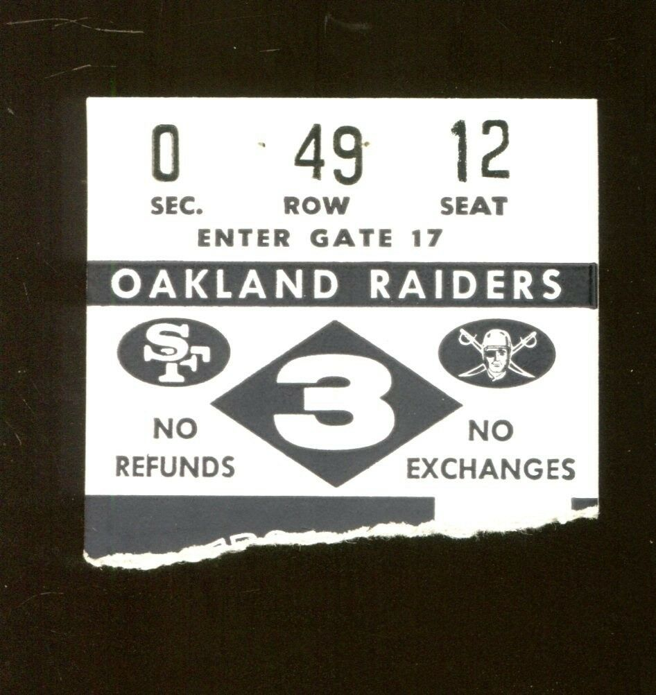 1968 Oakland Raiders v San Francisco 49ers Ticket 9168 Kezar
