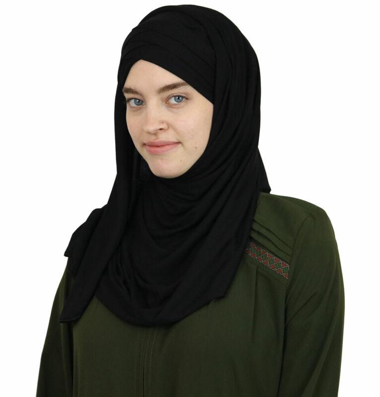 Modefa Turkish Islamic Instant Criss-Cross Jersey Hijab Shawl Scarf Black