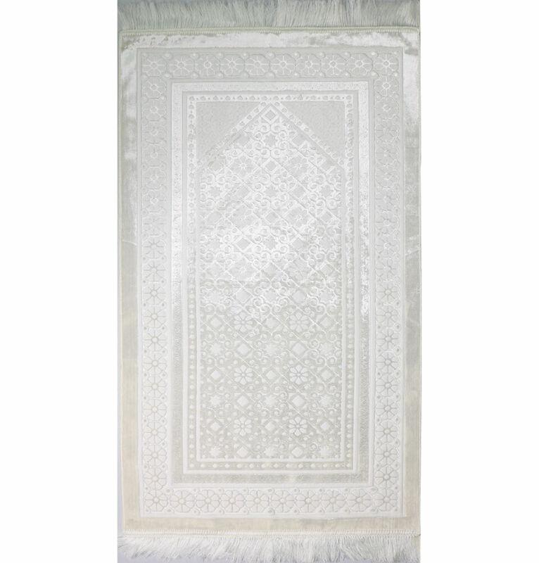 Modefa Velvet Islamic Prayer Rug Turkish Sajadah Floral Stamp Luxury Plush White